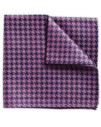 Royal and pink houndstooth classic pocket square