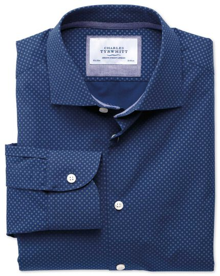 Classic fit semi-cutaway collar business casual printed blue shirt
