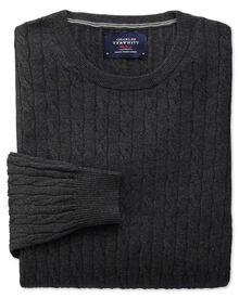 Charcoal cotton cashmere cable crew neck jumper