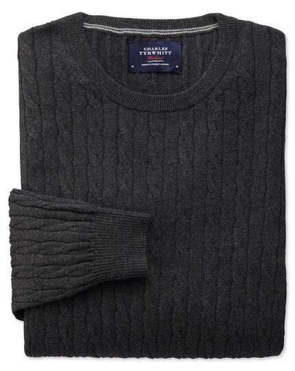 Charcoal cotton cashmere cable crew neck jumper