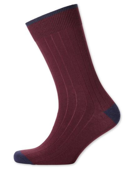 Burgundy ribbed socks