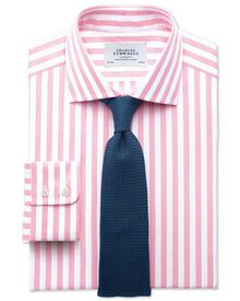 Classic fit semi-cutaway collar Egyptian cotton stripe pink shirt
