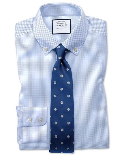 Extra slim fit button down non-iron twill grid check sky blue shirt