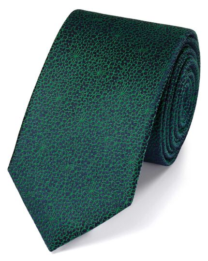 Slim green silk floral classic tie
