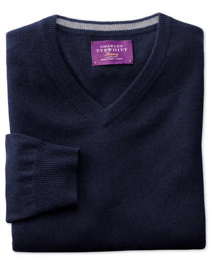 Navy cashmere v-neck jumper