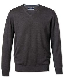 Charcoal merino wool v-neck jumper