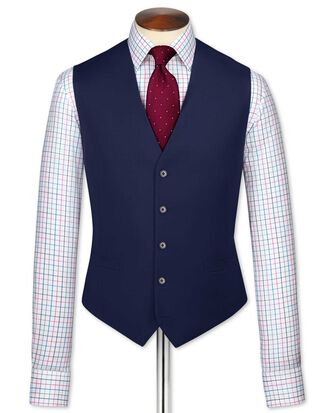 Royal blue adjustable fit twill business suit waistcoat