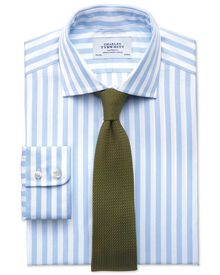 Classic fit semi-cutaway collar Egyptian cotton stripe sky blue shirt