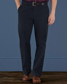 Navy classic fit moleskin trousers