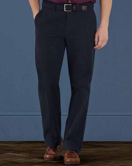 Navy classic fit moleskin pants