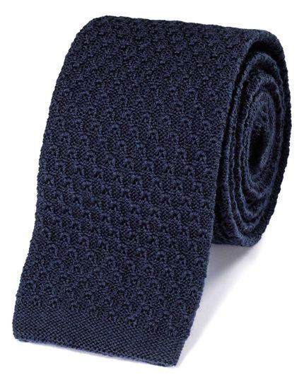 Slim navy wool knitted classic tie