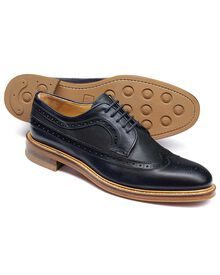 Eastcott Budapester Derby-Schuh mit Flügelkappen in marineblau
