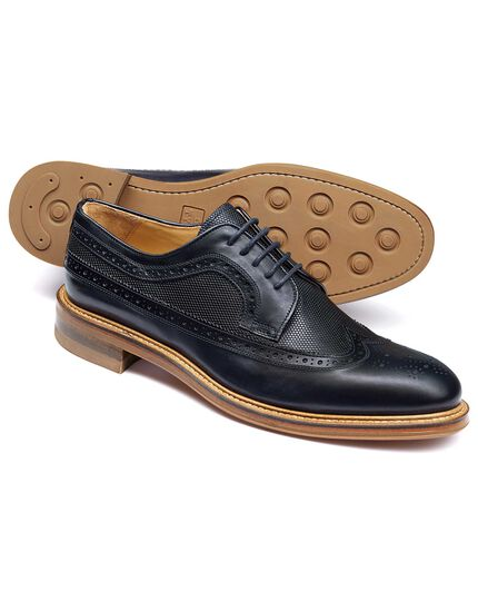 Navy Eastcott wing tip brogue Derby shoes