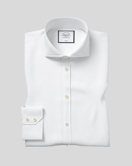 Slim fit extreme spread collar non-iron twill white shirt