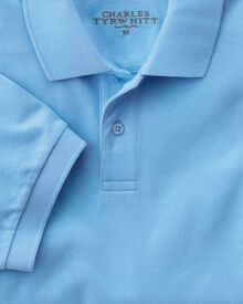 Classic fit sky pique polo shirt
