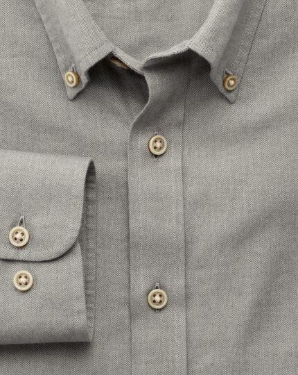Classic fit grey herringbone shirt