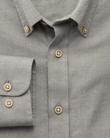 Slim fit herringbone plain grey shirt