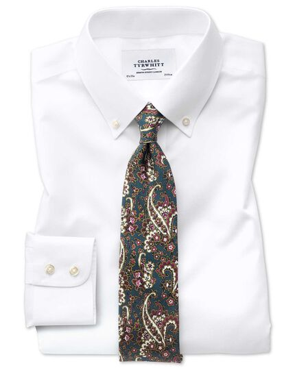 Extra slim fit button down collar non-iron twill white shirt