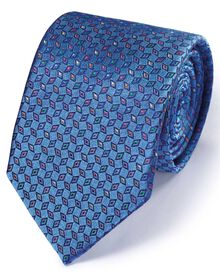 Mid blue silk English luxury diamond tie