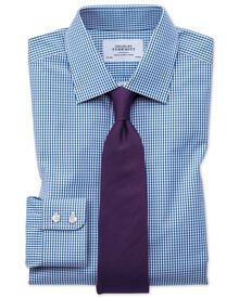 Classic fit small gingham check navy shirt