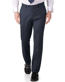 Airforce blue slim fit twill business suit trousers