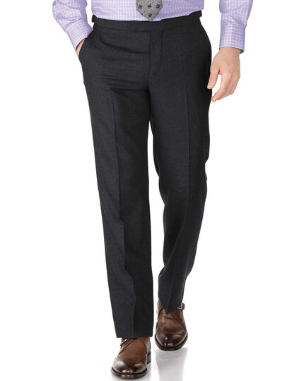 Charcoal classic fit British serge luxury suit trousers