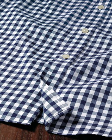 Slim fit non-iron poplin short sleeve navy gingham shirt