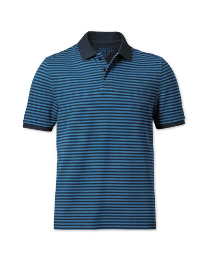 Slim fit navy and blue striped pique polo