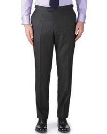 Charcoal classic fit British Panama luxury suit trousers