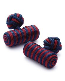 Red and navy barrel knot cufflinks