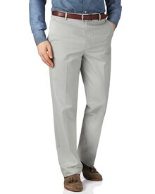 Silver grey classic fit flat front non-iron chinos