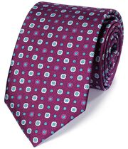 Purple silk printed classic tie