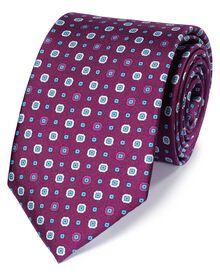 Purple silk printed classic tie