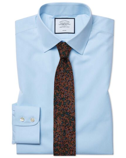 Slim fit non-iron poplin sky blue shirt