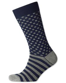 Navy and grey spot and stripe socks