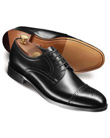 Black Harding calf leather toe cap brogue Derby shoes