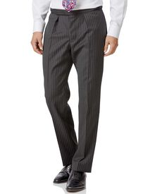 Black striped classic fit morning suit pants