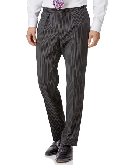 Black striped classic fit morning suit trousers