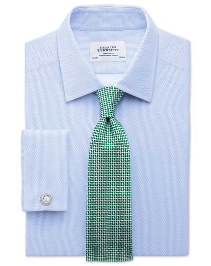 Extra slim fit Egyptian cotton diamond texture sky blue shirt