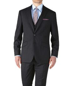 Charcoal slim fit end-on-end business suit jacket