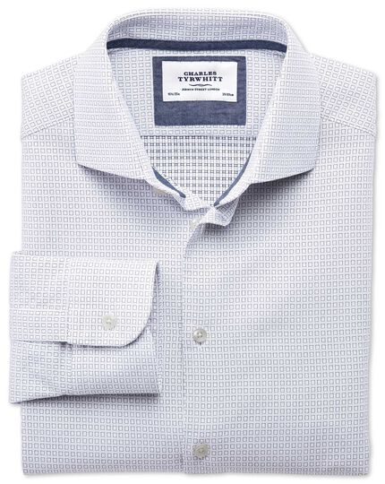Classic fit semi-spread collar business casual square dobby white and navy blue shirt