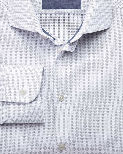 Extra slim fit semi-spread collar business casual square dobby white and navy blue shirt