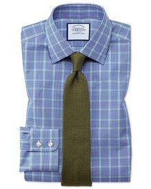 Classic Fit Hemd in Blau und Grün mit Prince-of-Wales-Karos