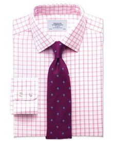 Slim fit non-iron twill grid check light pink shirt