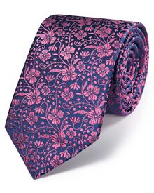Navy and pink silk luxury English floral tie