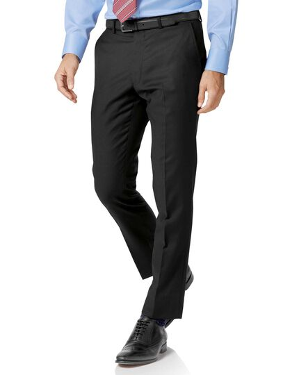 Slim Fit Businessanzug Hose aus Twill in schwarz