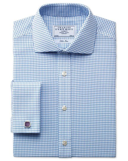 Classic fit non-iron spread collar basketweave check sky blue shirt