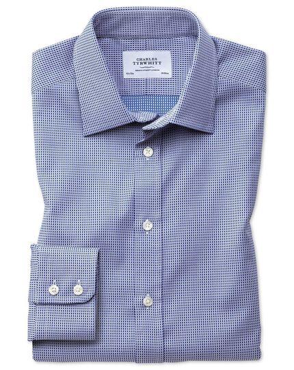 Classic Fit Hemd aus ägyptischer Baumwolle in Marineblau mit Diamant-Tupfen