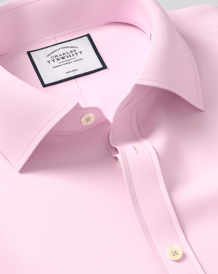 Slim fit non-iron twill pink shirt
