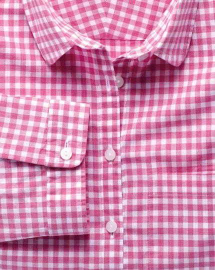 Women's semi-fitted cotton check pink tab sleeve shirt